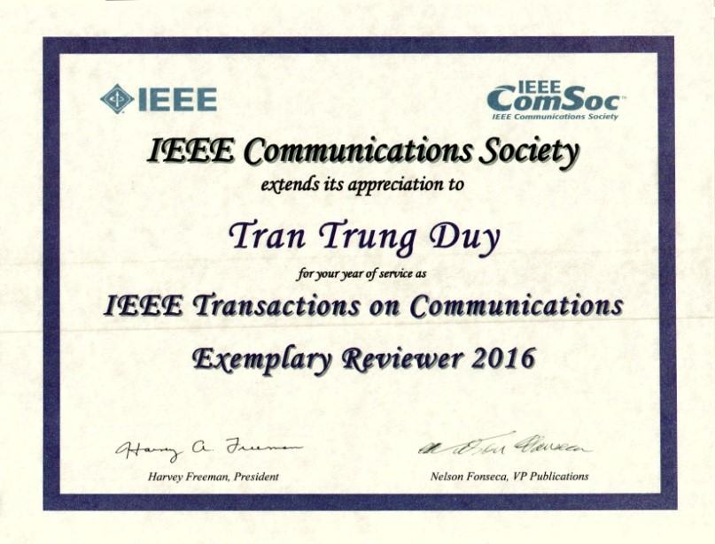 Bản tin về giải thưởng Exemplary Reviewer của Hiệp hội Điện – Điện tử Hoa Kỳ (IEEE)