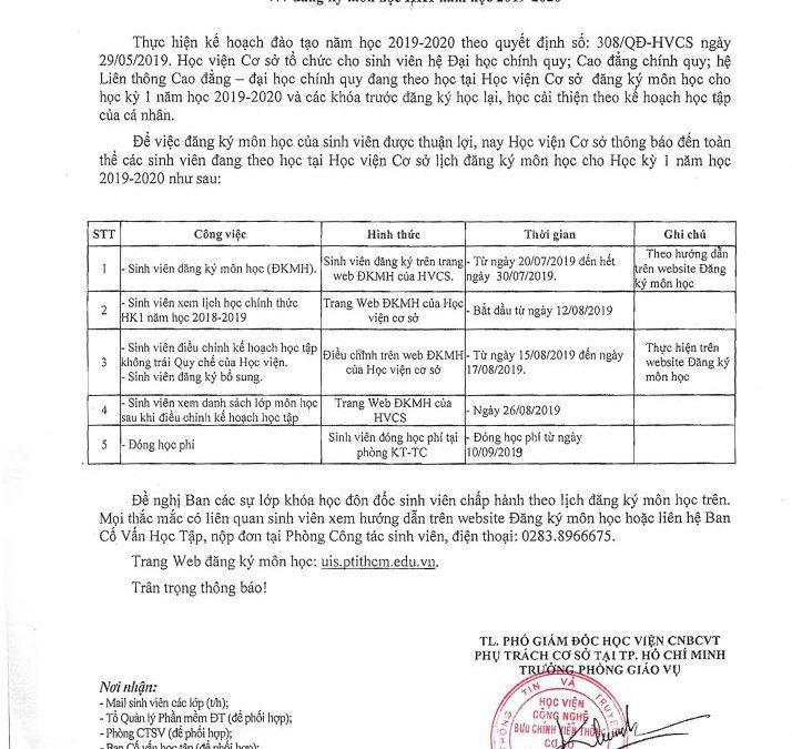 THÔNG BÁO V/v đăng ký môn học HK1 năm học 2019-2020