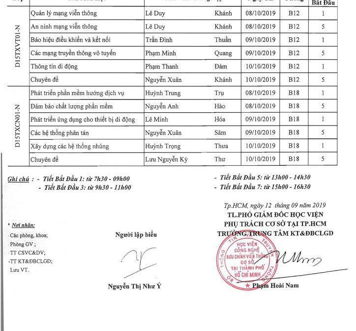 LỊCH THI LẦN 2 HK7, LẦN 1 HK8 Các lớp Khóa 2015 Hệ 4,5 năm – ĐHTX